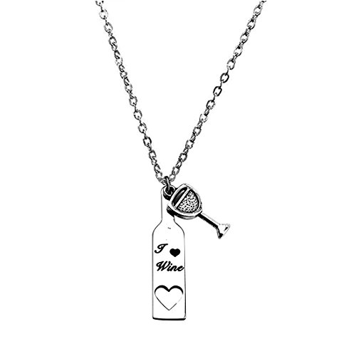 Zuo Bao Wine Necklace for Women, Love Heart Wine Cup Lariat Y Necklace, Stainless Steel Wine Jewelry Gift for Wine Lovers (Necklace-3)
