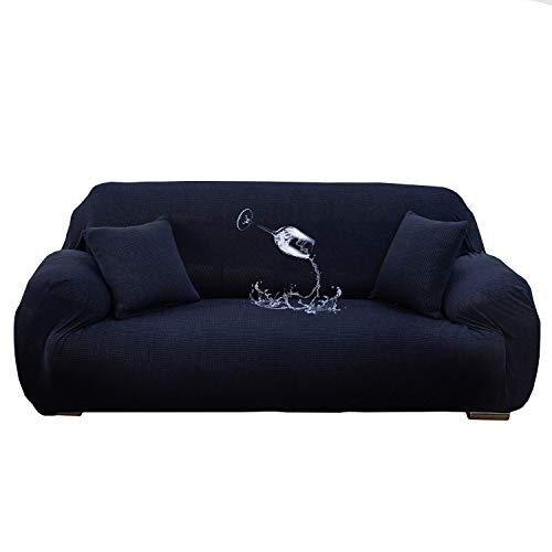 Wasserdichter Stretch-Sofabezug für 1/2/3/4-Sitzer (2 x Kissenbezüge) für Wohnzimmer, Sessel, Sofas, Stuhlbezüge, Möbelbezüge für Stühle (Marineblau, 1-Sitzer (90–140 cm)