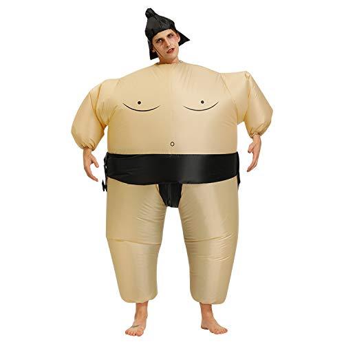 Runstarshow Aufblasbares Sumo Kostüm Fatsuit Sumo Ringer Yokozuna Fat-Suit Anzug Sumo-Ringer Erwachsene Kinder Verkleidung Fasching Karneval