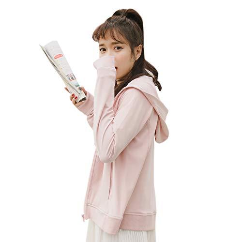 Elonglin Femme Sweat-Shirt Zippé à Capuche Blouson Sport Jacket Veste Sweat Manche Longue Casual Outwear Rose Poitrine 41 inch (Asie XL)