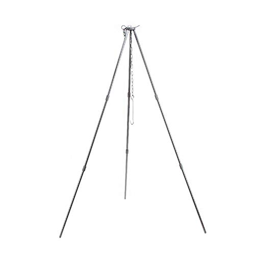 Outdoor Cooking Tripod Set Folding Campfire Grilling Grill Grate Stand Camping Fire Pit Tool Bonfire Party Picnic BBQ Hanger With Storage Bag