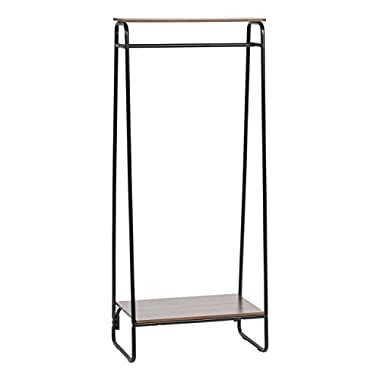 IRIS Metal Garment Rack with 2 Wood Shelves, Black and Dark Brown