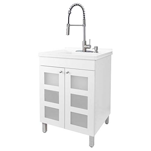 White Tehila Utility Sink Vanity, Stainless Steel Pull-Down Coil Faucet, Soap Dispenser and Spacious Cabinet by JS Jackson Supplies for Garage, Basement, Shop and Laundry Room