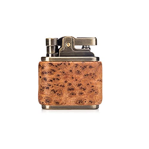 PENNY73 Vintage Cherosene Accendino Olio Benzina Legno Accendino Mole in Ottone Nucleo Accendisigari Gadget Benzina Fuoco,Yellow