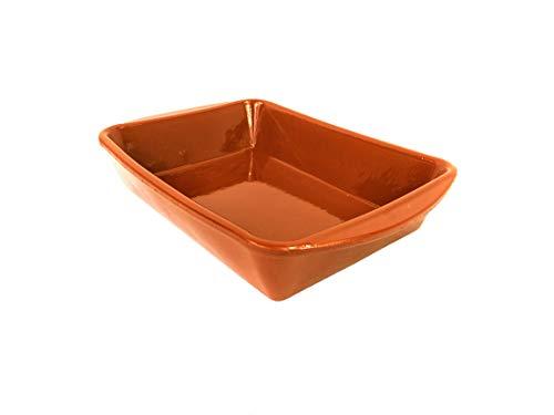Cazuela de barro rectangular 26cm x 19 cm. Apta para el Horno, Gas, vitrocerámica y para lavavajillas. Hecho en España a mano.