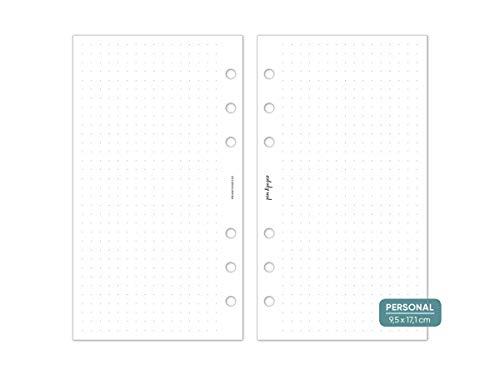 pen & pages® gepunktetes Papier Dot Grid - Personal - 6 Löcher - Nachfüllpapier Personal A6 Organizer, Notizpapier, dotted, punktkariert, Lettering, Bullet Journal, 9,5 x 17,1 cm