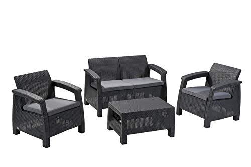 Corfu Outdoor - Set di mobili da giardino in rattan a 4 posti, con tavolo accento, colore: Grafite con cuscini grigi