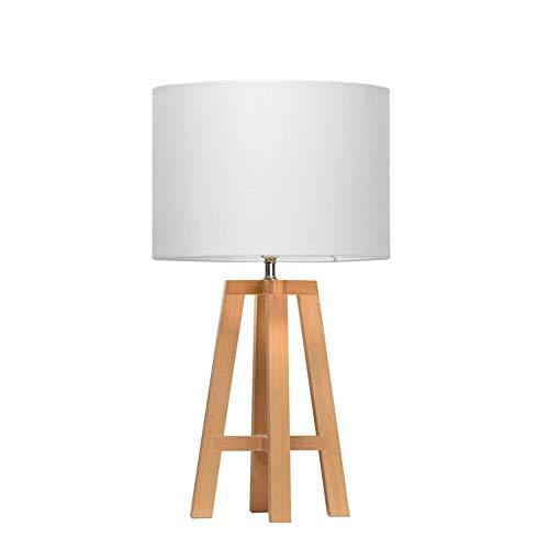Kaper Go Lámpara de mesa de madera para dormitorio nórdico minimalista TC de tela para mesita de noche, lámpara de mesa decorativa con personalidad creativa para sala de estar, 25 cm x 45,5 cm