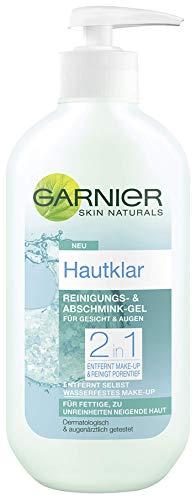 Garnier Hautklar Reinigungs- und Abschminkgel, Gesichtsreinigung mit Zink und Salicysäure, Make up Entferner (1 x 200 ml)