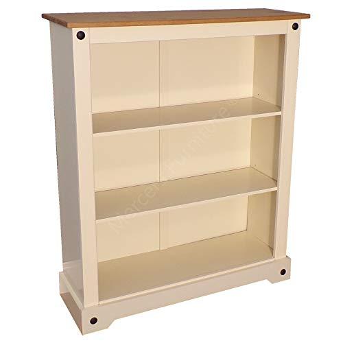 Mercers Furniture Corona cremefarbenes kleines Bücherregal, elfenbeinfarben, S