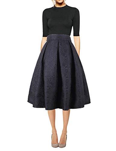 Hanlolo Women High Waisted Midi Skirt Print Floral Knee Length Pleated Flared Pocket Skirts 12