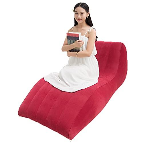 Erhöhen Und Verlängern Sie Das Faule Sofa S-Typ Flocking Aufblasbares Sofa, Sofá-Aufblasbare De Aire-Aufblassträger Al Aire Libre Silla Aufblasbar,Rot,Repair kit + Foot Pump