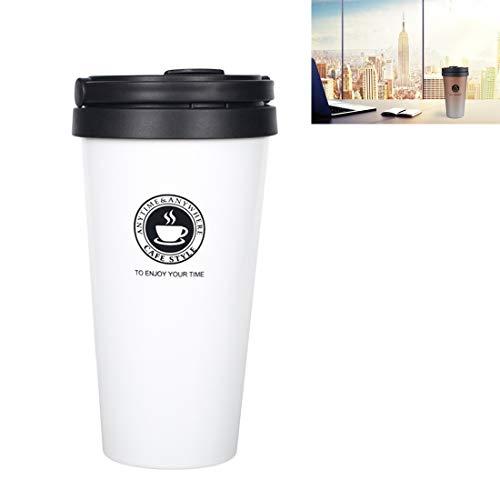N / A Vacío Termoses Copas 500ml portátiles Taza de la Botella Doble Pared de Acero Inoxidable de café 304 Liner Aislamiento al vacío (Negro) (Color : White)