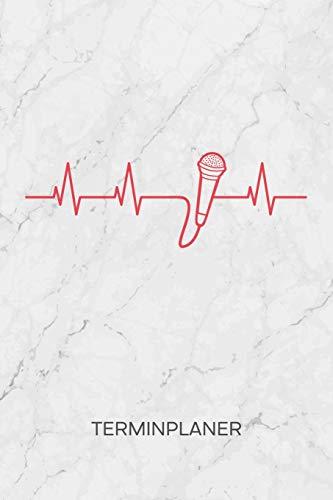 TERMINPLANER: Künstler Kalender Gesangsunterricht Terminkalender - Mikrofon EKG Wochenplaner Sänger Herzschlag Wochenplanung Musikinstrumente Taschenkalender Musik To-Do Liste Termine