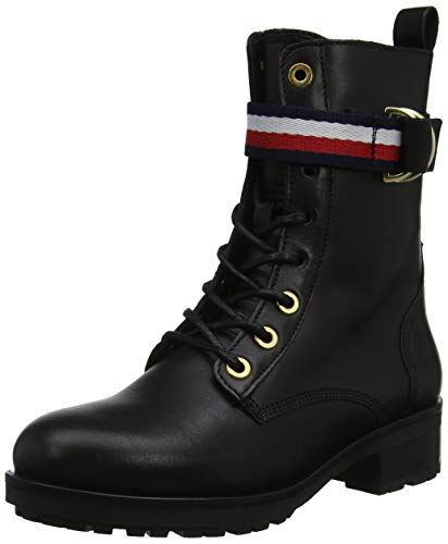 Tommy Hilfiger Damen Corporate Ribbon BIKERBOOT Stiefeletten, Schwarz (Black 990), 40 EU