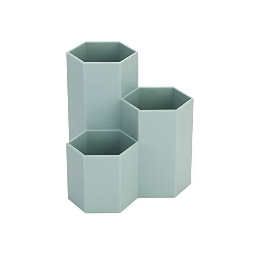 Cubo de Almacenamiento de Herramientas de Maquillaje Caja de Almacenamiento de papelería de Escritorio de Tres Celdas en Forma de Diamante Simple Caja de Acabado de Cepillo