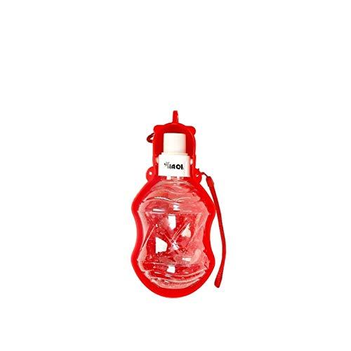 ASFJKSIE Botella de plástico Plegable for Mascotas Perro de Agua for el Recorrido Gatos Perros del Perrito de Bebedero Copa Exterior admiten Agua alimentador dispensador (Color : 280 ML Red)