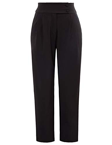 GRACE KARIN Womens Loose Office Dress Pants Relaxed Fit All Day Pant Trouser Black S