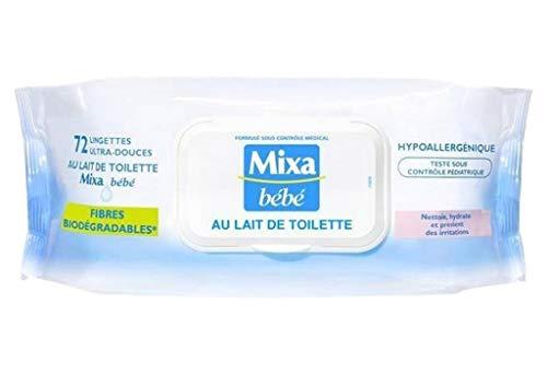 Mixa Bébé Bei Wipes Reinigungsmilch X72 (Set von 6 oder 432 Tücher)