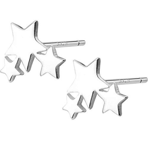 WOZUIMEI Pendientes de Plata S925 Pendientes de Estrella de Cinco Puntas para Hombres Y Mujeres Pendientes Simples de ParejaUn par