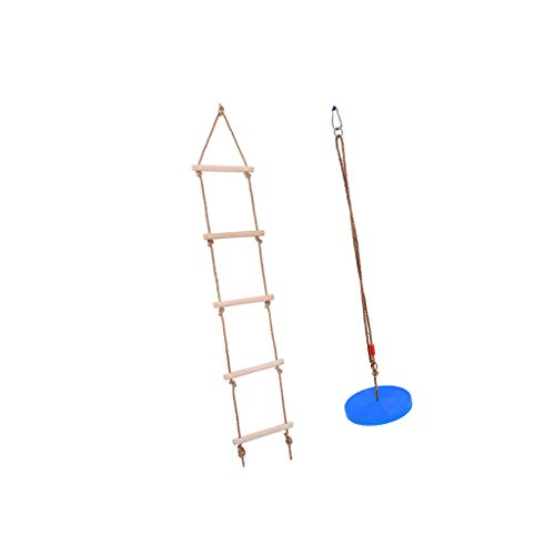 T TOOYFUL Kletterleiter Strickleiter + Schaukelsitz Schaukelteller Spielzeugset für Kletterturm und Spielturm Zubehör, Max Belastung: 120 KG