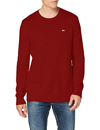 Tommy Jeans TJM Essential Crew Neck Sweater Suter, Rojo Vino, M para Hombre