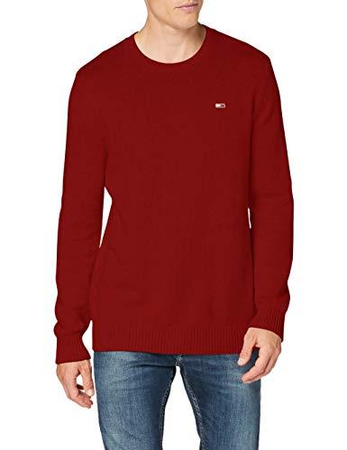 Tommy Hilfiger TJM Essential Crew Neck Sweater Suter, Rojo Vino, XXL para...