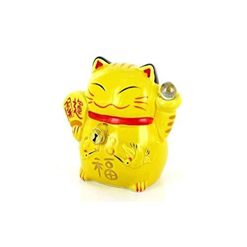 Maneki Neko - Hucha Japonesa (Altura 11 cm), Color Amarillo