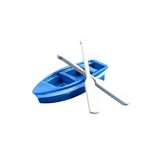 beautijiam Mediterraner Stil Miniatur Ruderboot Feengarten Miniatur Ruderboot Blaues Holz Boot mit Ruder