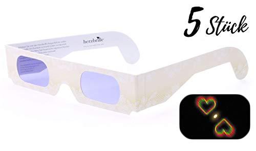 Die Herzbrille Champagner (5 Stück) - Herzchen sehen in jedem Licht: Romantischer Wow-Effekt: Ideales Hochzeitsgeschenk | 3D-Brillen mit Herzeffekt