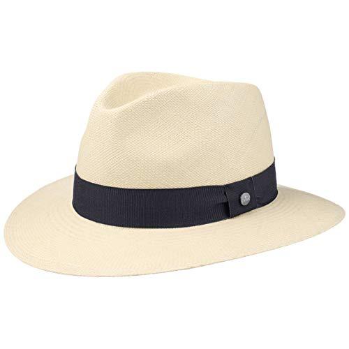 Lierys The Sophisticated Panamahut Damen/Herren - Handmade in Ecuador - Panamastrohhut - Strohhut aus Panamastroh - Sommerhut mit Ripsband Natur-dunkelblau M (57-58 cm)