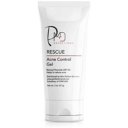 PerfectionsMD Rescue: Acne Control Gel | Benzoyl Peroxide USP 5% Daily Face Acne Treatment | Hormonal & Cystic Acne Spot Treatment for Men, Women, & Teens