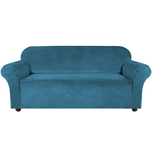 Turquoize Velvet Sofa Slipcover Stretch Couch Covers for 3 Cushion Couch Thick Soft Sofa Cover with Non Slip Straps Furniture Protector, Couch Covers for Dogs, Couch Slipcover (Large, Peacock Blue)