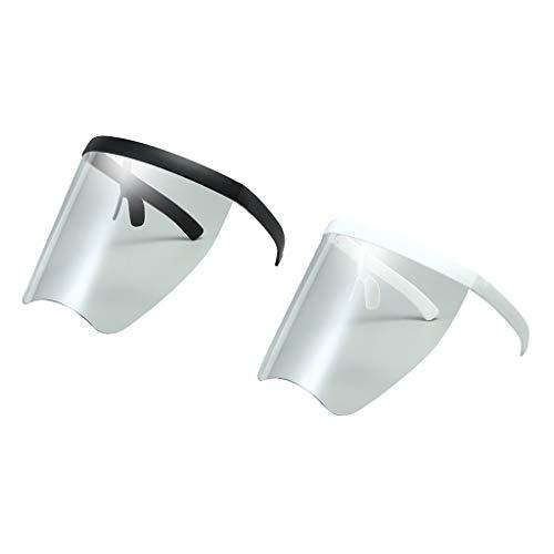 Milageto 2 gafas protectoras con visera completa facial con visera envolvente plana, antivaho.
