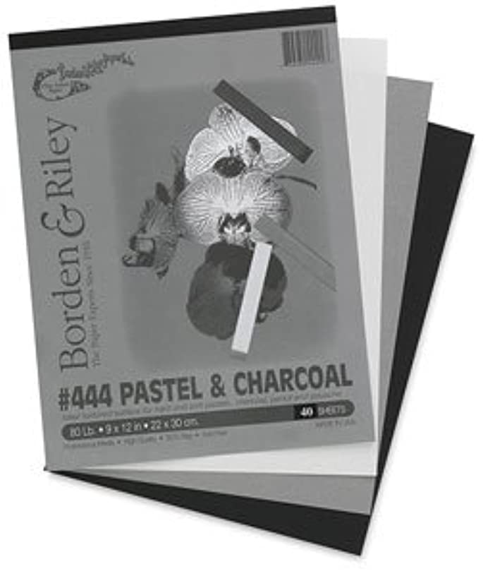 Borden & Riley #444 Pastel and Charcoal Combination Paper Pad, 9 x 12 Inches, 80 lb, 40 Assorted Color Sheets, 1 Pad Each (444P091240)