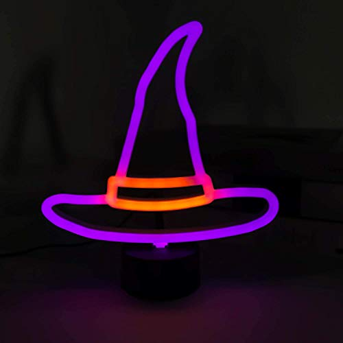 Witch Hat Shaped Halloween Decoration LED Neon Sign Light. Indoor Night Table Lamp with Battery or USB Powered for Party, Living Room, Kids Room, Wedding, Home Decoration. (Purple Witch Hat)