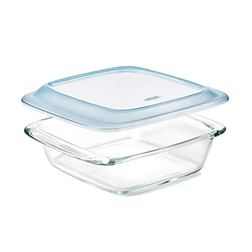 Freezer-to-Oven Safe 2 Qt Glass Baking Dish with Lid