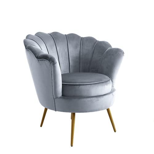 Sessel wohnzimmer | Modern Sessel samt | relaxsessel für schlafzimmer | Lounge- & Cocktailsessel | Lesesessel bequem, Neptune sessel by JD Elegance, grau