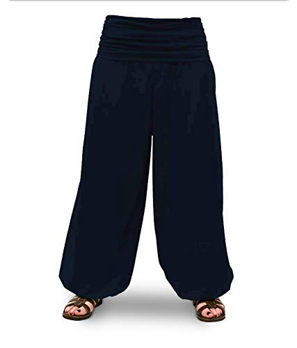 Savari Pantalon de yoga méditation pour homme et femme Noir Blanc Gris marine, Mixte, bleu marine, XL