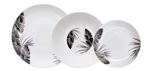 Bidasoa Tropiko Vajilla de porcelana para 6 personas, 18 piezas, Blanca con decorados en negro