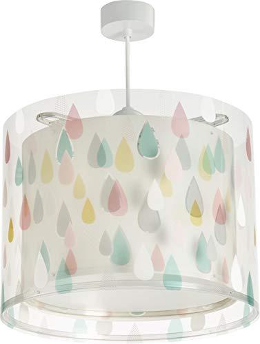 Dalber 41432 Lámpara infantil juvenil colgante de techo Color Rain Gotas E27, Multicolor
