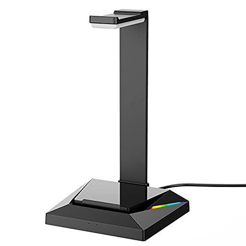 N / B Soporte de Auriculares de Juego, luz de respiración Colorida, 2 Puertos USB AUX Input, Escritorio, Pantalla inalámbrica Auricular, para el Juego de la PC de Escritorio Auricular
