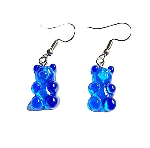 ARMAC Personalidad transparente Jelly Candy Color Cartoon Bear Pendientes Girly Gummy Stud Pendientes (azul real)