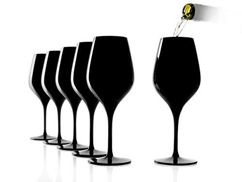Stölzle Lausitz Tasting-Glas, Verkostungsglas, Blind Tasting Glass, schwarz, 6er Set, Serie Exquisit, Stölzle Lausitz, 350 ml, für Weinverkostungen, für Rotweine und Weißweine, spülmaschinenfest