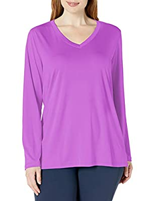 JUST MY SIZE Women's Plus Size Active Long Sleeve Cool Dri V-Neck Tee, Purple Reef, 3X