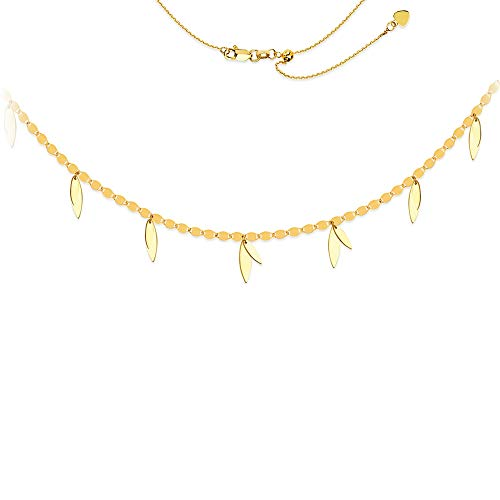 14ct Geel Goud Valentino Ketting Ketting Dangle Leaf Verstelbare Choker - 43 Centimeters