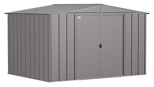Arrow Shed Classic 10' x 8' Outdoor Padlockable Steel Storage Shed Building, Charcoal