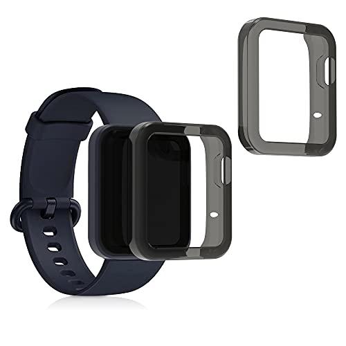 kwmobile 2X Carcasa Compatible con Xiaomi Mi Watch Lite/Redmi Watch - Funda para Fitness Tracker en Negro/Transparente