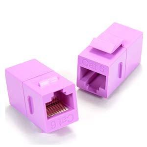 InstallerParts Cat.6 Inline Coupler w/Keystone Latch Purple