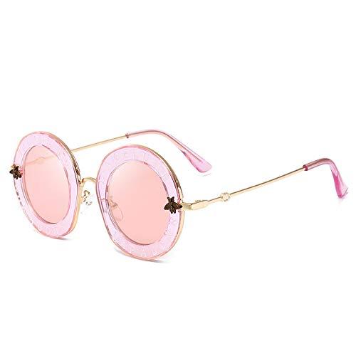 SONGYUAN Gafas de sol letra abeja redonda gafas de sol femenino europeo y americano tendencia calle moda espejo C7 transparente marco té luz pieza